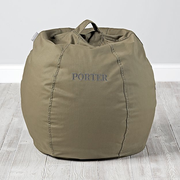 Small Personalized Dark Green Bean Bag Chair