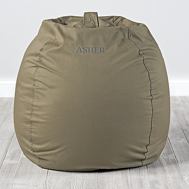 Large Personalized Dark Green Bean Bag Chair