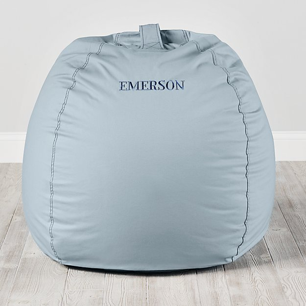 Large Personalized Light Blue Bean Bag Chair