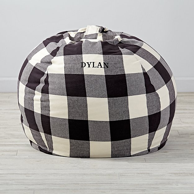 Large Personalized Buffalo Check Bean Bag Chair Cover