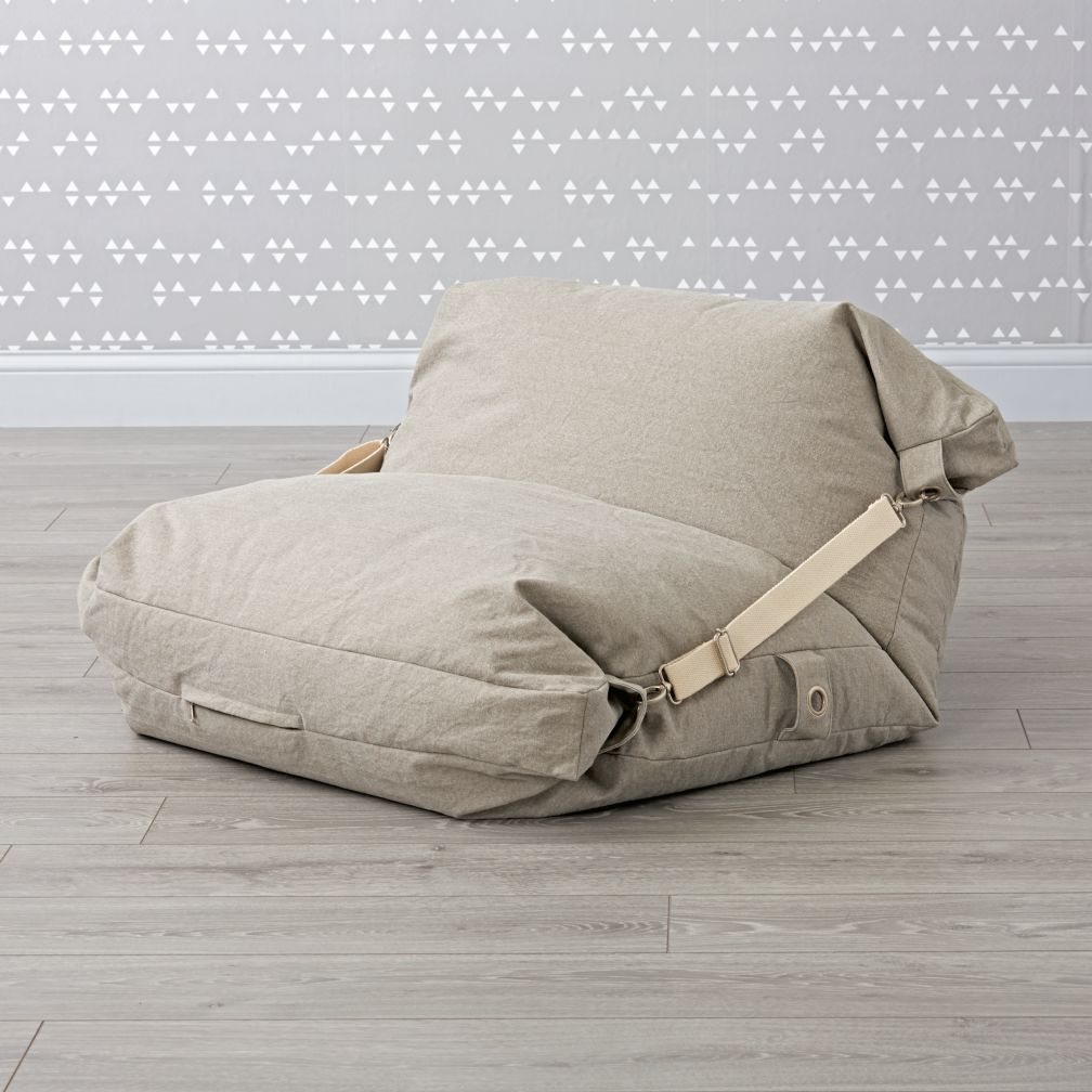 adjustable light grey bean bag chair the land of nod. Black Bedroom Furniture Sets. Home Design Ideas