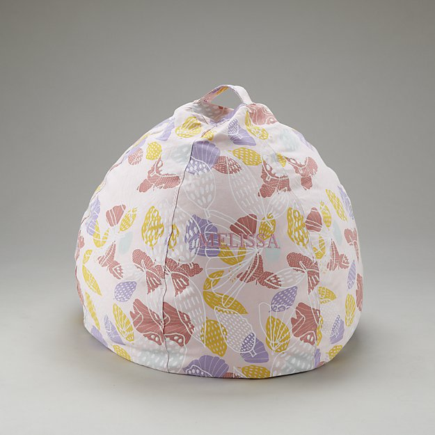 Small Personalized Strawberry Floral Bean Bag Chair Cover