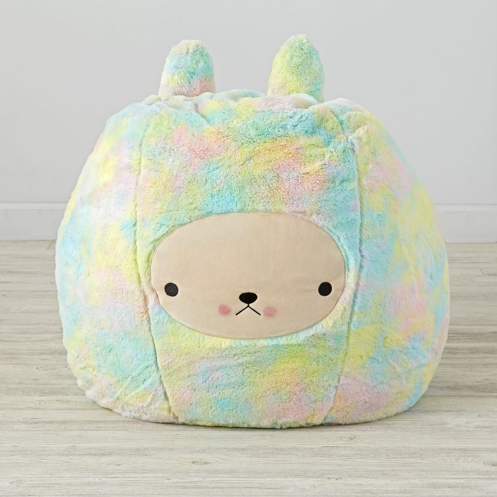 Furry bunny bean bag chair set the land of nod for Small stuffed chairs