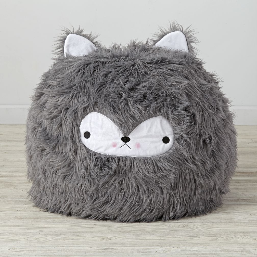 Bean Bag Chairs For Kids Purple furry wolf bean bag chair | the land of nod
