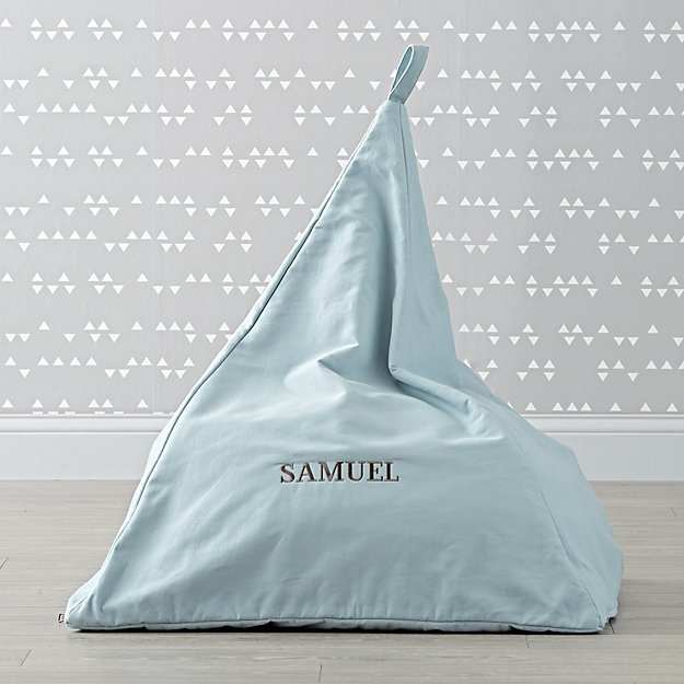 Triangle Personalized Blue Bean Bag Chair