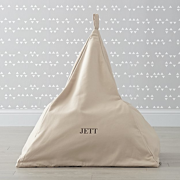 Triangle Personalized Grey Bean Bag Chair