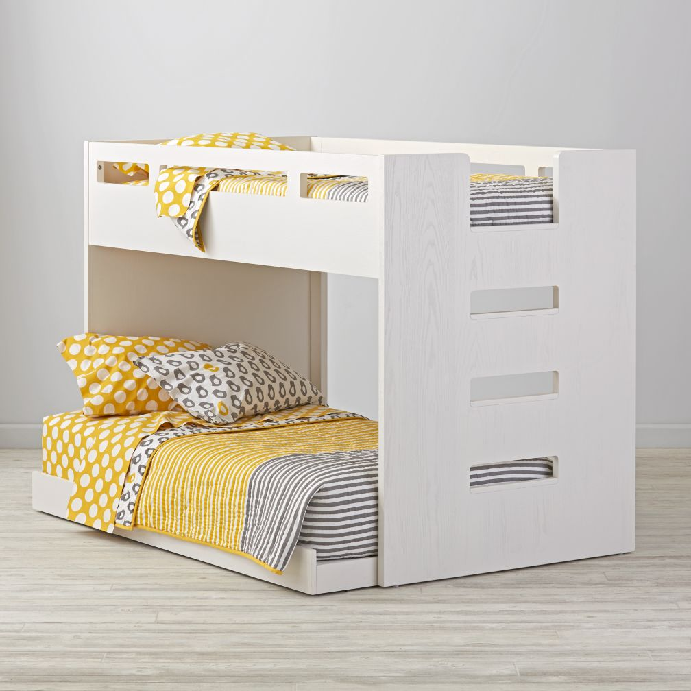 Abridged White Glaze Low Twin Bunk Bed The Land Of Nod