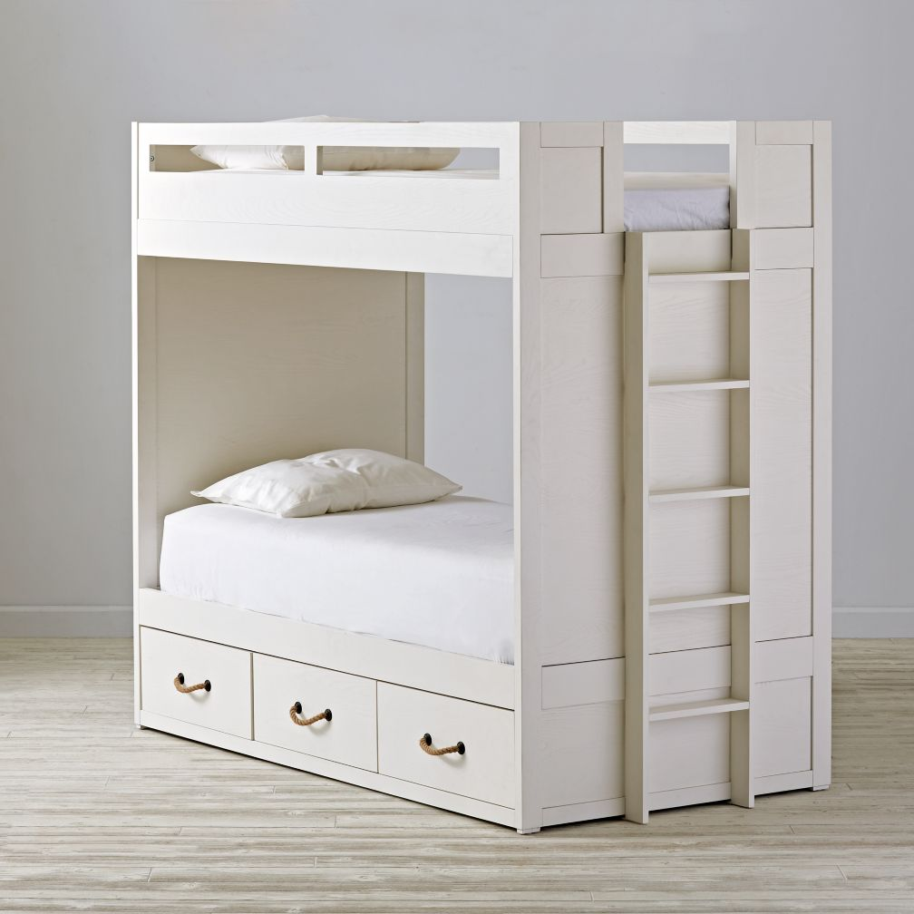 Topside White Glaze Twin Bunk Bed
