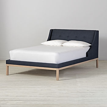 Gallery Navy Upholstered Wing Full Bed