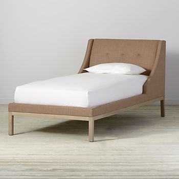 Twin Gallery Blush Upholstered Wing Bed