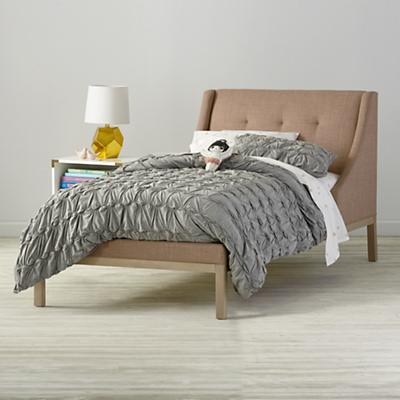 Gallery Blush Upholstered Wing Bed