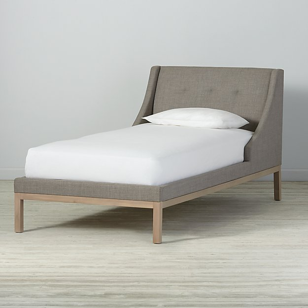 Gallery Grey Upholstered Wing Twin Bed
