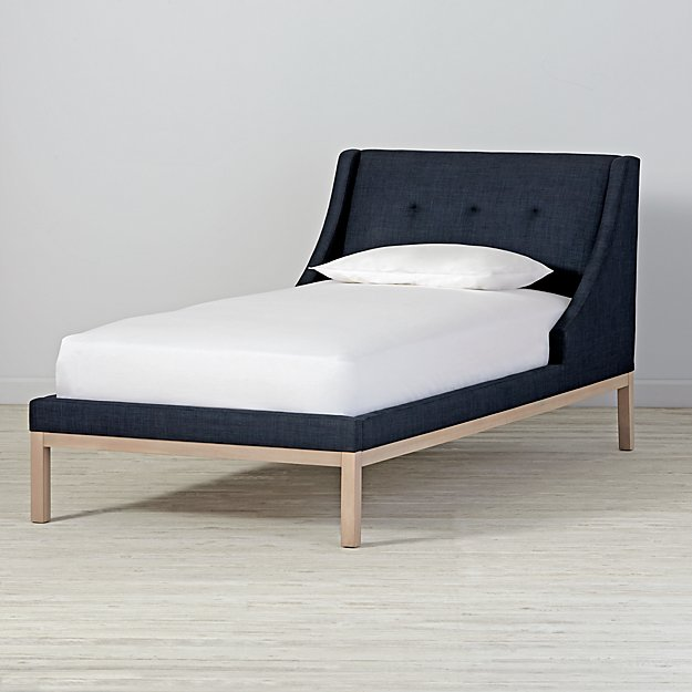 Gallery Navy Upholstered Wing Twin Bed