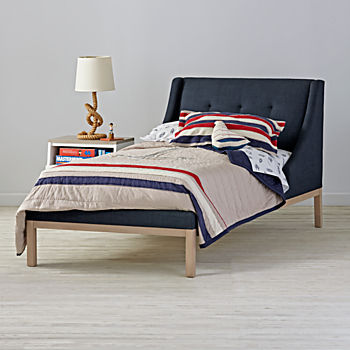 Gallery Navy Upholstered Wing Bed