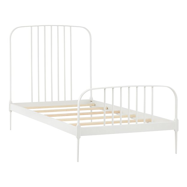 White Metal Bed Frames twin larkin metal bed (white) | the land of nod