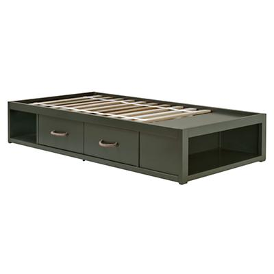 Twin Topside Olive Storage Bed