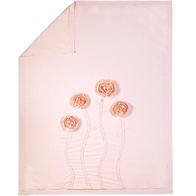 Full-Queen Pink Floral Applique Duvet Cover