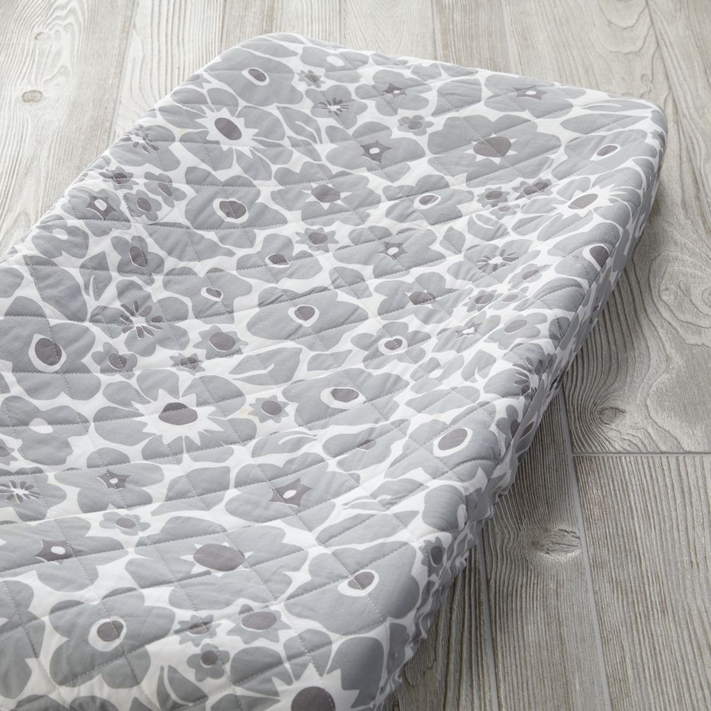 Go Lightly Changing Pad Cover (Grey Floral)
