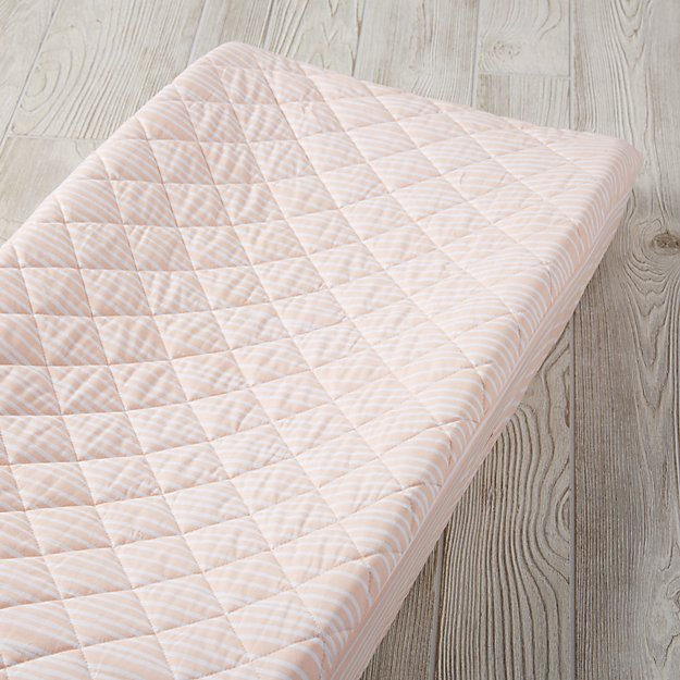 Mod Botanical Pink Stripe Changing Pad Cover