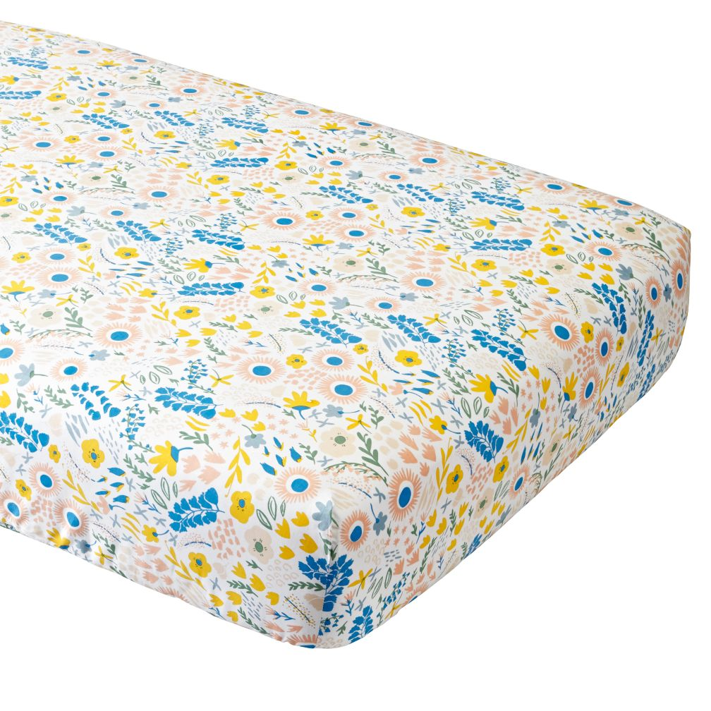 Organic Floral Rush Crib Fitted Sheet