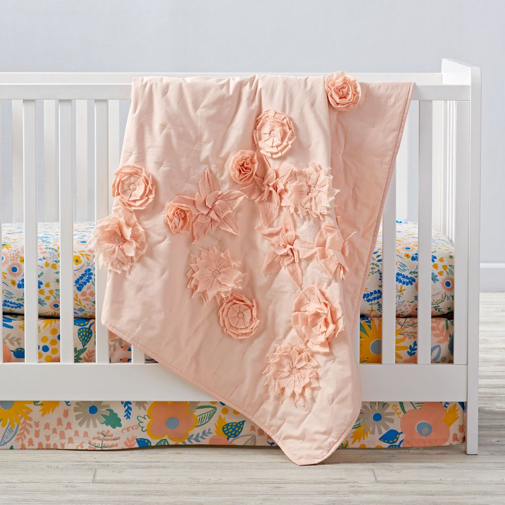 Floral Rush Crib Bedding | The Land of Nod : quilted crib sheet - Adamdwight.com