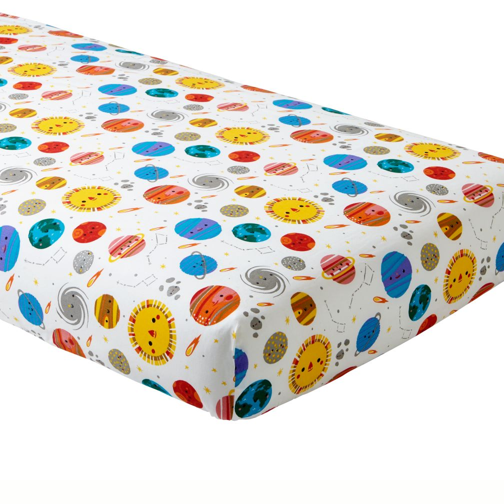 organic deep space crib fitted sheet  the land of nod -