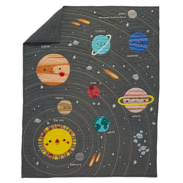 Deep space baby quilt the land of nod for Space fabric quilt
