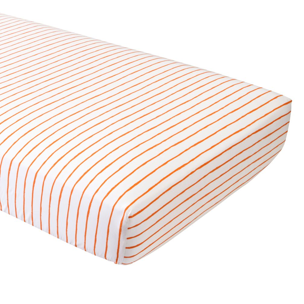 Organic Wild Excursion Orange Stripe Fitted Crib Sheet