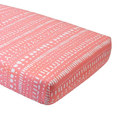 Organic Pink Tribal Crib Fitted Sheet