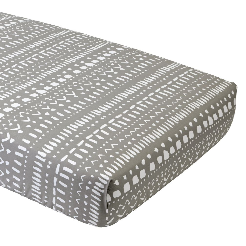 Organic Wild Excursion Grey Tribal Crib Fitted Sheet