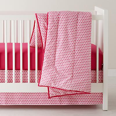 Fine Prints Crib Skirt (Pink Hearts)