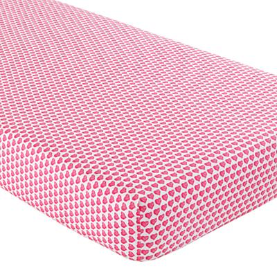 Crib Fitted Sheet (Pink Hearts)