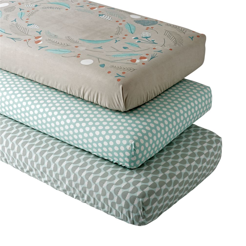 blue well nested woodland crib fitted sheet set  the land of nod -
