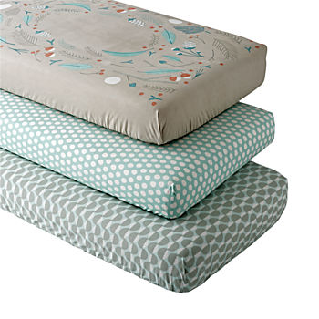 Organic Well Nested Blue Fitted Crib Sheets (Set of 3)