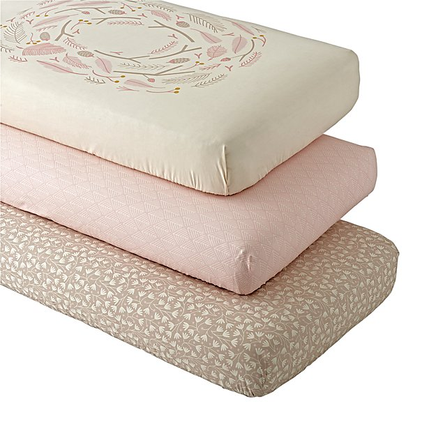 Organic Well Nested Pink Fitted Crib Sheets (Set of 3)