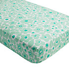 Mint Floral Go Lightly Crib Fitted Sheet