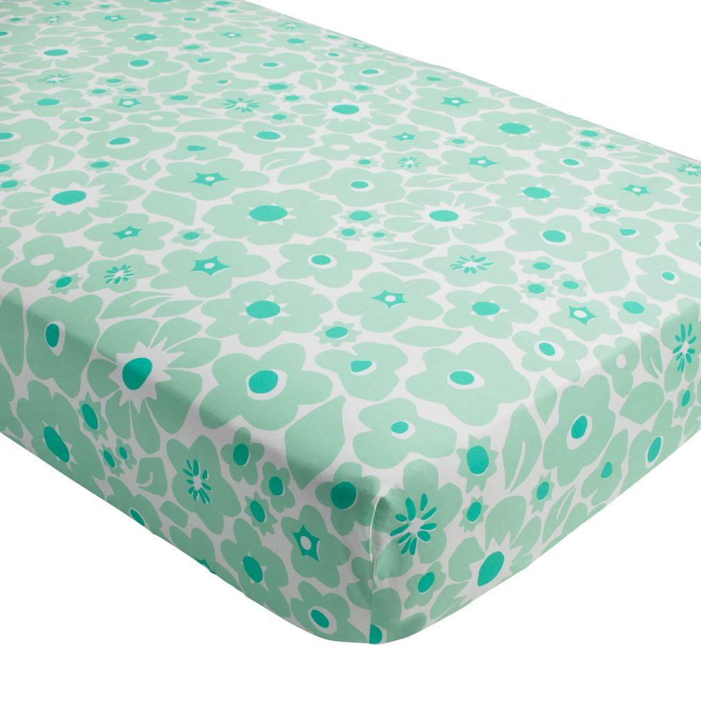 Go Lightly Crib Fitted Sheet (Mint Floral)