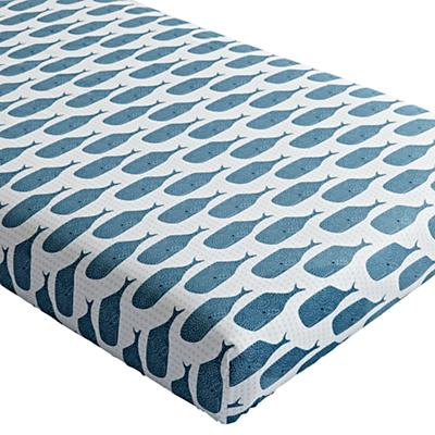 Organic High Seas Whale Crib Fitted Sheet
