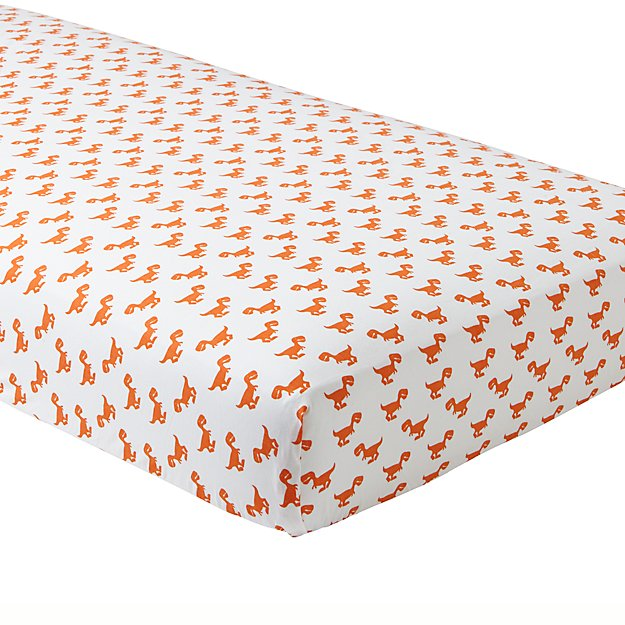 Organic Little Prints Orange Dino Crib Sheet