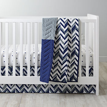 Little Prints Blue Crib Bedding (3-Piece Set)