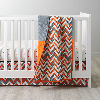 Little Prints Orange Crib Bedding (3-Piece Set)