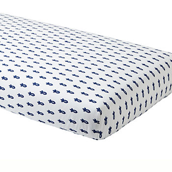 Organic Little Prints Blue Rocket Crib Fitted Sheet