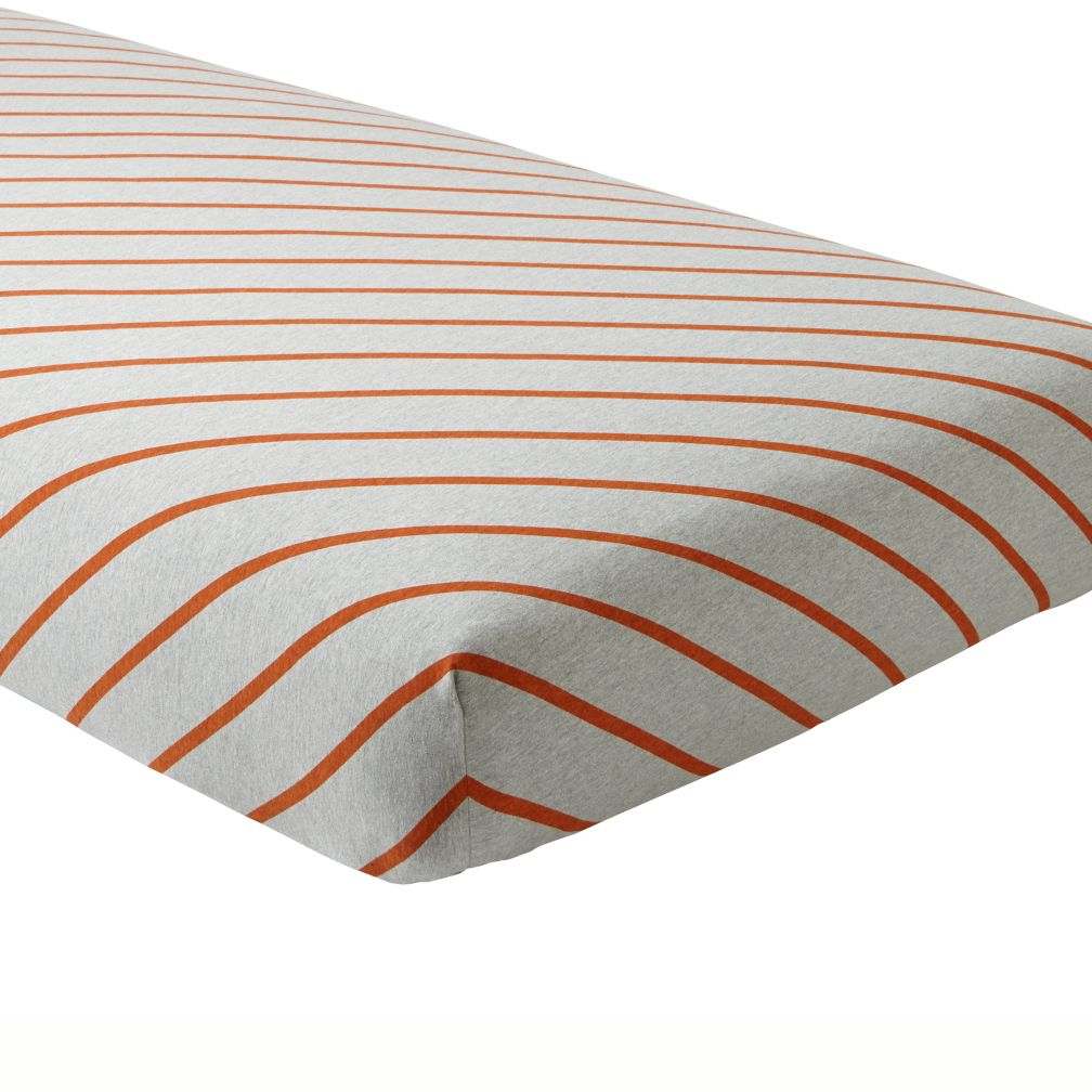 Little Prints Crib Fitted Sheet (Orange Stripe)