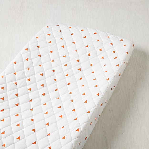 Little Prints Orange Triangle Changing Pad Cover