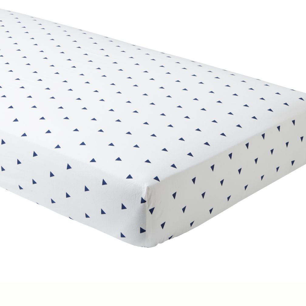 Organic Little Prints Blue Triangle Crib Fitted Sheet