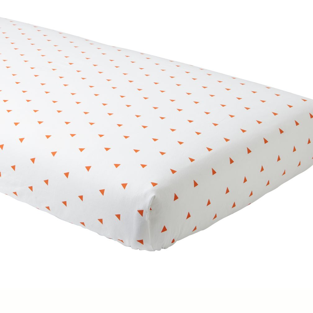 Organic Orange Triangle Crib Fitted Sheet