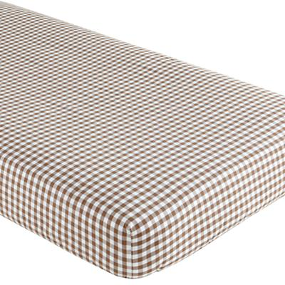 Crib Fitted Sheet (Brown Gingham)