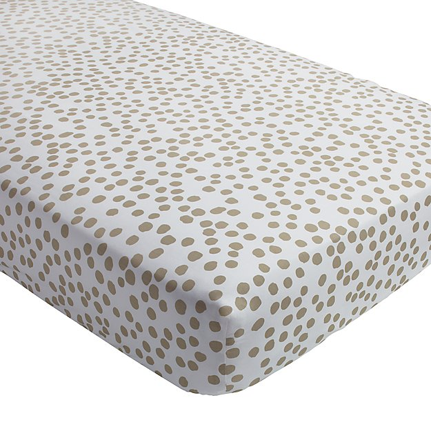 Organic Mod Botanical Grey Dot Crib Fitted Sheet