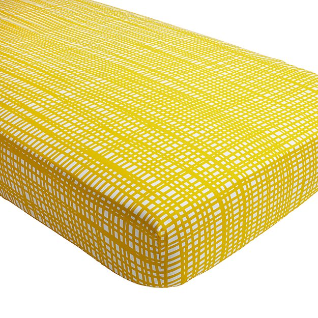 Organic Mod Botanical Yellow Hatch Crib Fitted Sheet