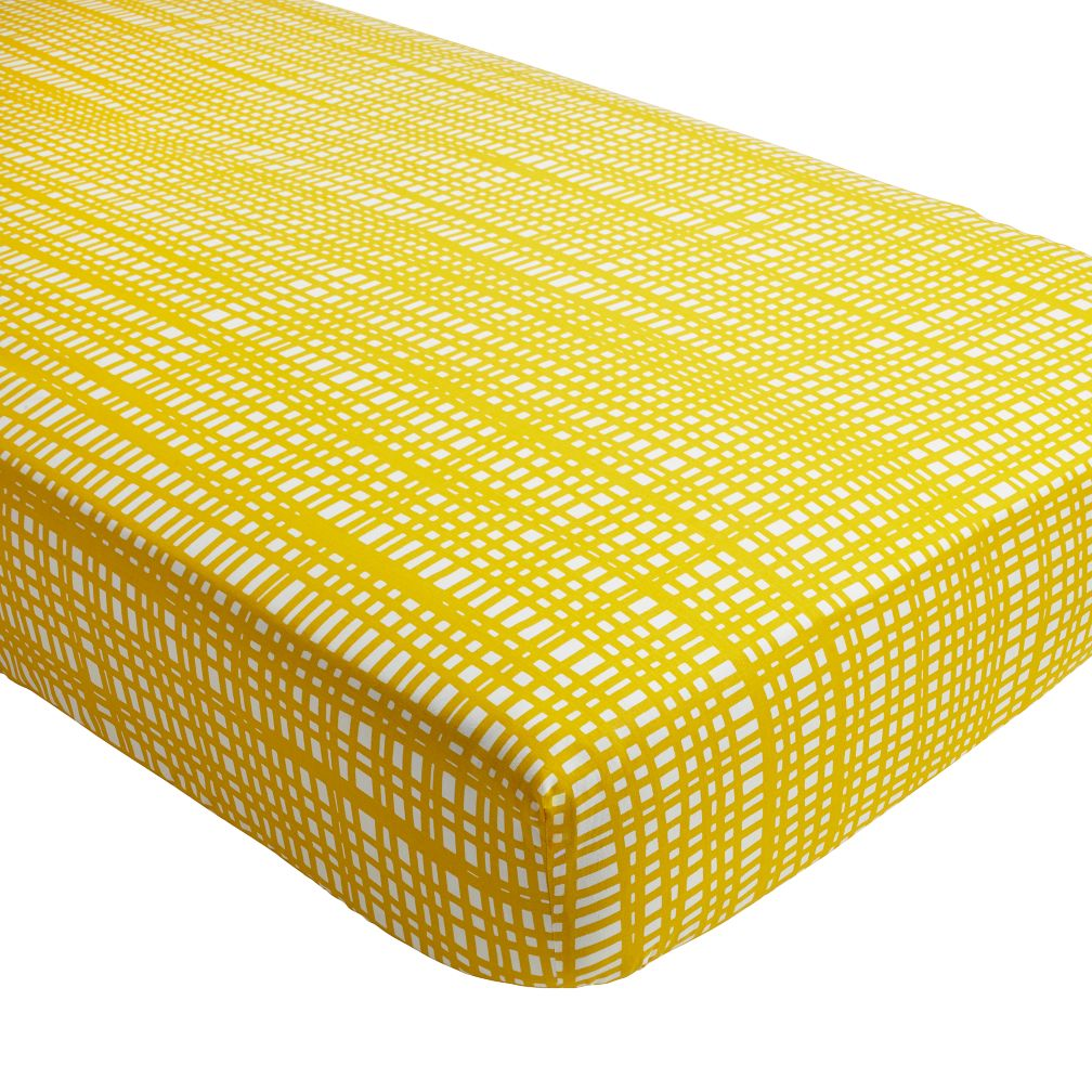 Mod Botanical Crib Fitted Sheet (Yellow Hatch)